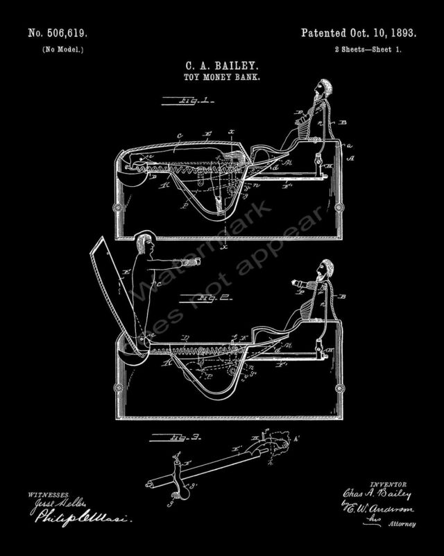 J & E Stevens Worlds Fair Columbus Cast Iron Bank Patent Print - Black