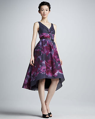 Neiman Marcus Fortarget Lela Rose Purple Floral Watercolor Silk Cotton Dress Nwt