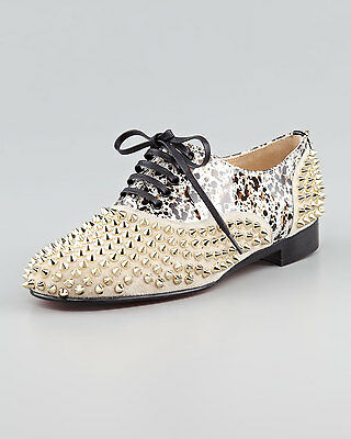 Auth Christian Louboutin FREDDY Studded Patent Lace Flat Oxford Shoes 39.5 $1145