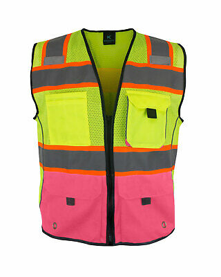 Womens Reflective Safety Vest With Pockets Yellow-pink
