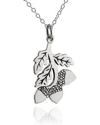 Acorn Tree Branch Necklace - 925 Sterling Silver - Pendant Oak Fall Leaves NEW