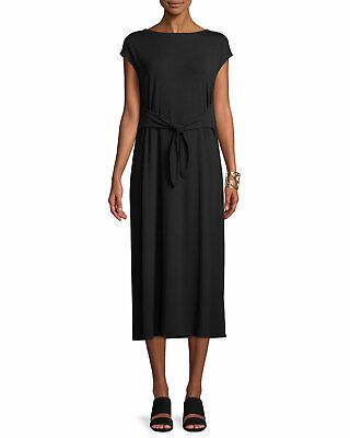 EILEEN FISHER Women's Black Tie Front/Back Jersey Dress Size L New