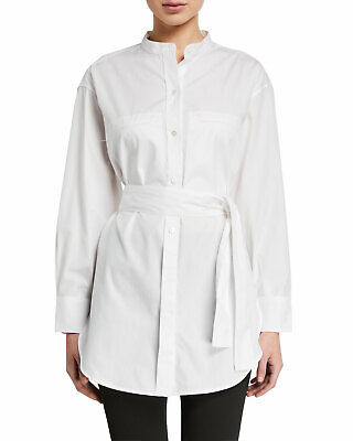 Vince Women's Blouse Large White Cotton Poplin Oversized Belted Top Shirt $265 Belted Blouse Top