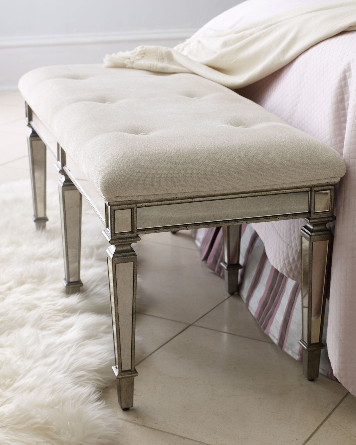 NEW Horchow Denison VANITY Stool BENCH Ottoman Bedroom Livin