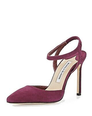 MANOLO BLAHNIK Minis SUEDE ANKLE-WRAP POINTED-TOE PUMP CRANBERRY ITA 39 NEW $765