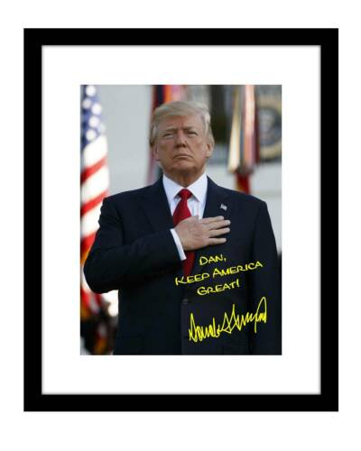Donald Trump 8x10 Signed photo print personalized to YOUR NAME 2020 maga US flag