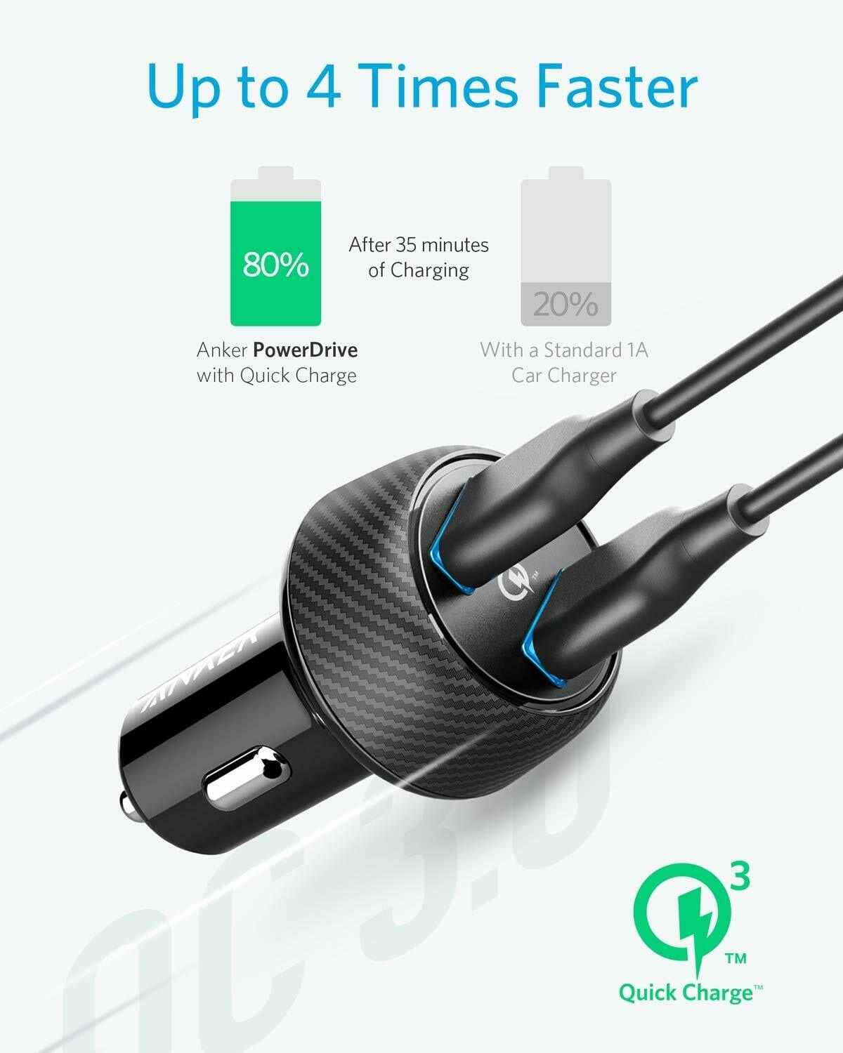 Anker Quick Charge 3.0 39W Double USB Car Charger, PowerDriv