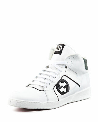 NEW Gucci Hi-Top Rebound White Leather GG Sneakers Lace up White 8 G - 9 US