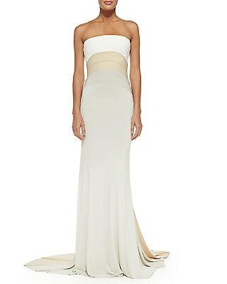 DONNA KARAN $3895 Strapless Tri-Color Crepe 'Chalk' Nude Stretch Gown Dress Sz 6