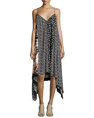 NWT Rag & Bone Londar Floral-Print Sleeveless Handkerchief-Hem Dress, Size S
