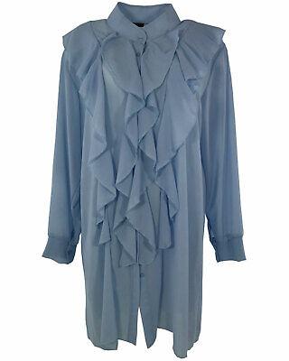 Chiffon Frill Sleeve Top (Womens Plain Chiffon Frill Italian Shirt Dress Long Sleeve Tunic Blouse Top Plus)