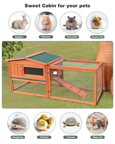 Giant Wood Rabbit Hutch Indoor & Outdoor Bunny Cage Pet House