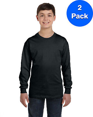 Gildan Boys 5.3 oz. Heavy Cotton Long-Sleeve T-Shirt 2 Pack