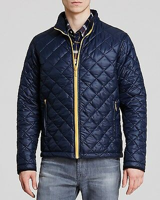 NWT Barbour Blue w/ contrasting Yellow Large 42-44 Nylon quilted KELLEN jacket