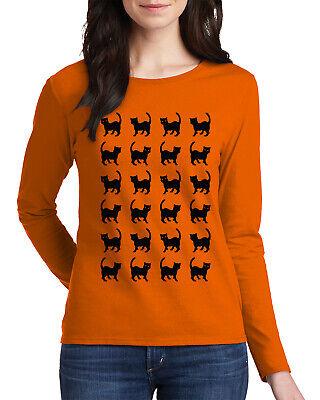 Easy Guy Costumes (Black Cat Halloween Shirt #2 Women's Long Sleeve T-Shirt Fun Easy)
