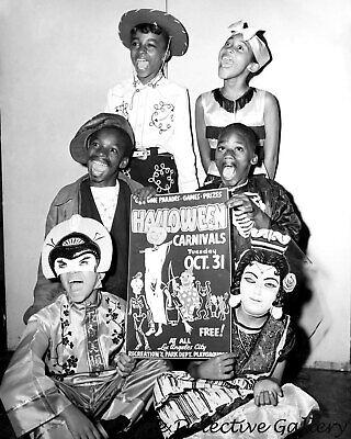 Kids In Halloween Costumes (African American Kids in Halloween Costume Advertising Party-Vintage Photo)