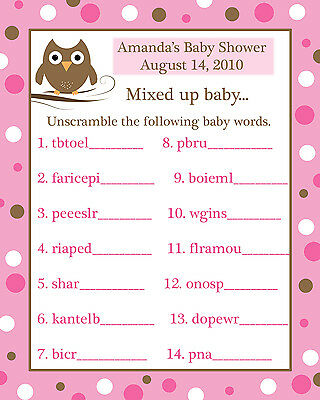 24 Baby Shower Word Scramble Game Cards  PINK BABY OWL