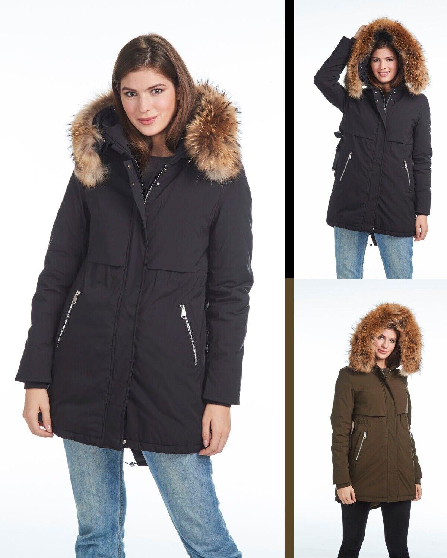 Damen Winter Jacke Parka Mantel Winterjacke Echtfell Kapuze  Fashion Blogger