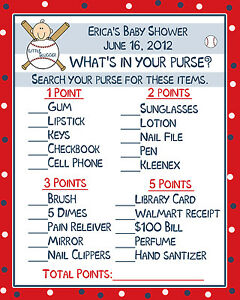 24-Baby-Shower-Game-Cards-Whats-In-Your-Purse-Game-Little-Slugger