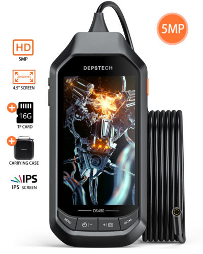 DEPSTECH 5.0MP Endoscope with 4.5in IPS Screen HD Inspection Camera Borescope