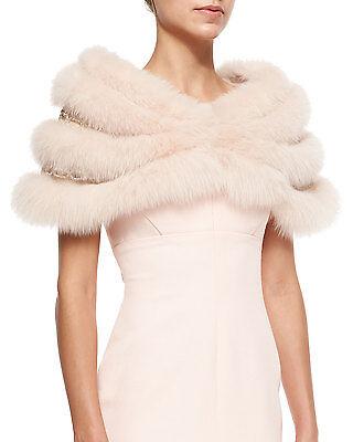 EXQUISITE J. MENDEL Tender ROSE Peachy Nude Fox Fur Chain Link STOLE