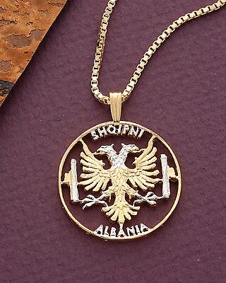 Albanian Eagle Pendant & Necklace,14K & Rhodium plated,1 1/8