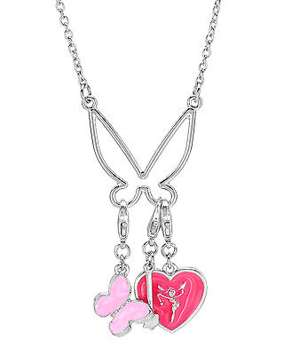 Tinkerbell Heart Charm - DISNEY Tinkerbell Heart  Charms  Necklace in Two Tone Enamel &  Base Metal