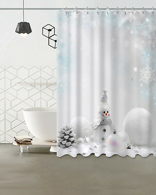 Pine Cone Shower Curtain (US STOCK Xmas Balls Snowman Pine Cone Shower Curtain Hooks Waterproof Fabric)