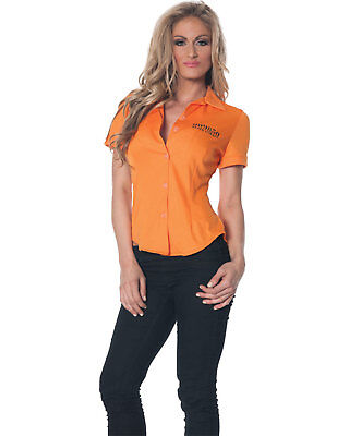 Morris Costumes Women's Short Sleeve Prisoner Fitted Shirt Orange Xl. UR28314XL