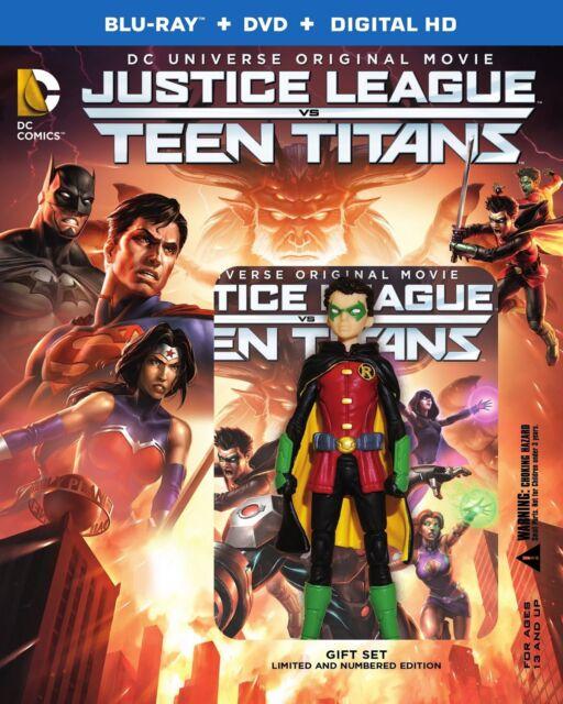 JUSTICE LEAGUE VS TEEN TITANS (Inc Robin figure) Blu Ray -  Region free