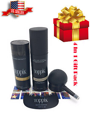 TOPPIK medium brown  27.5g4 in 1 Gift Pack Comb,Applicator, Spray,  Hair fibers