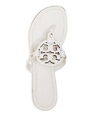 NIB Tory Burch Miller Leather Logo Flat Slide Sandal Thong Bleach White