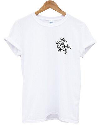 Rose Print Logo T-Shirt Top Mens Ladies Kids Cute Top Cool Tattoo Style L335