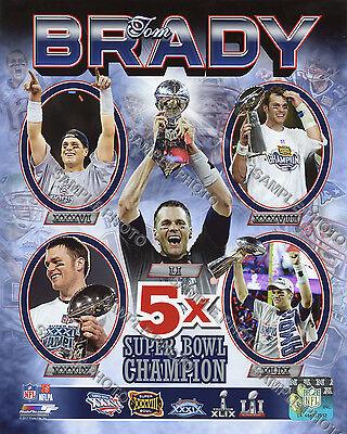 Tom Brady 5 Time Super Bowl Champion 8X10 Photo Free Shipping