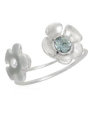 NEW PILGRIM SKANDERBORG, DENMARK Flower Toe Ring w/ Blue Crystal & Green Resin