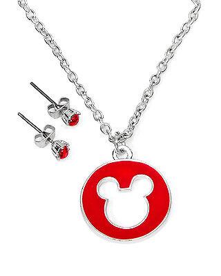 DISNEY Couture Mickey Mouse Head Necklace & Earrings Set In Base Metal  Disney Couture Set Necklace