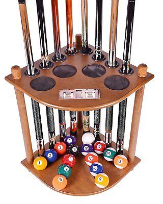 Oak Pool Table Rack Supplies Cue Balls Stick Holder Chalk Billiards Stand Wood