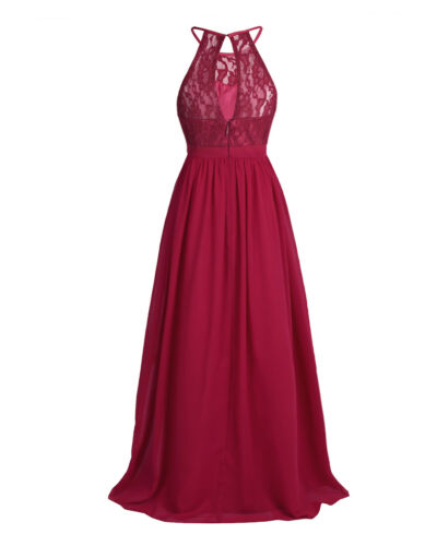 116-164 FEESHOW M/ädchen Spitzen Kleid Blumen Cocktailkleid Neckholder Giltzer Schlitz Kleid Chiffon Rock f/ür Party Ball gr