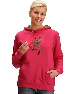 Womens NWT Browning Buckmark Camo Fuchsia Hoodie Sweatshirt Any Sz S M L XL 2X