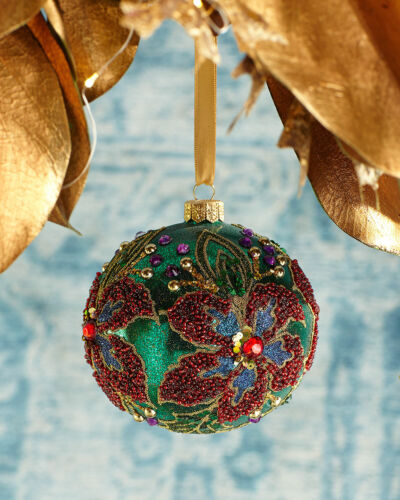 Neiman Marcus Floral Beaded & Jeweled Christmas Ornament