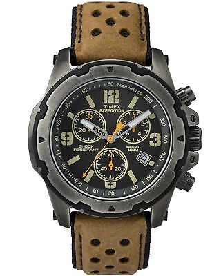 Timex TW4B01500, Men's Expedition Brown Leather Watch, Chronograph, Shock, Date