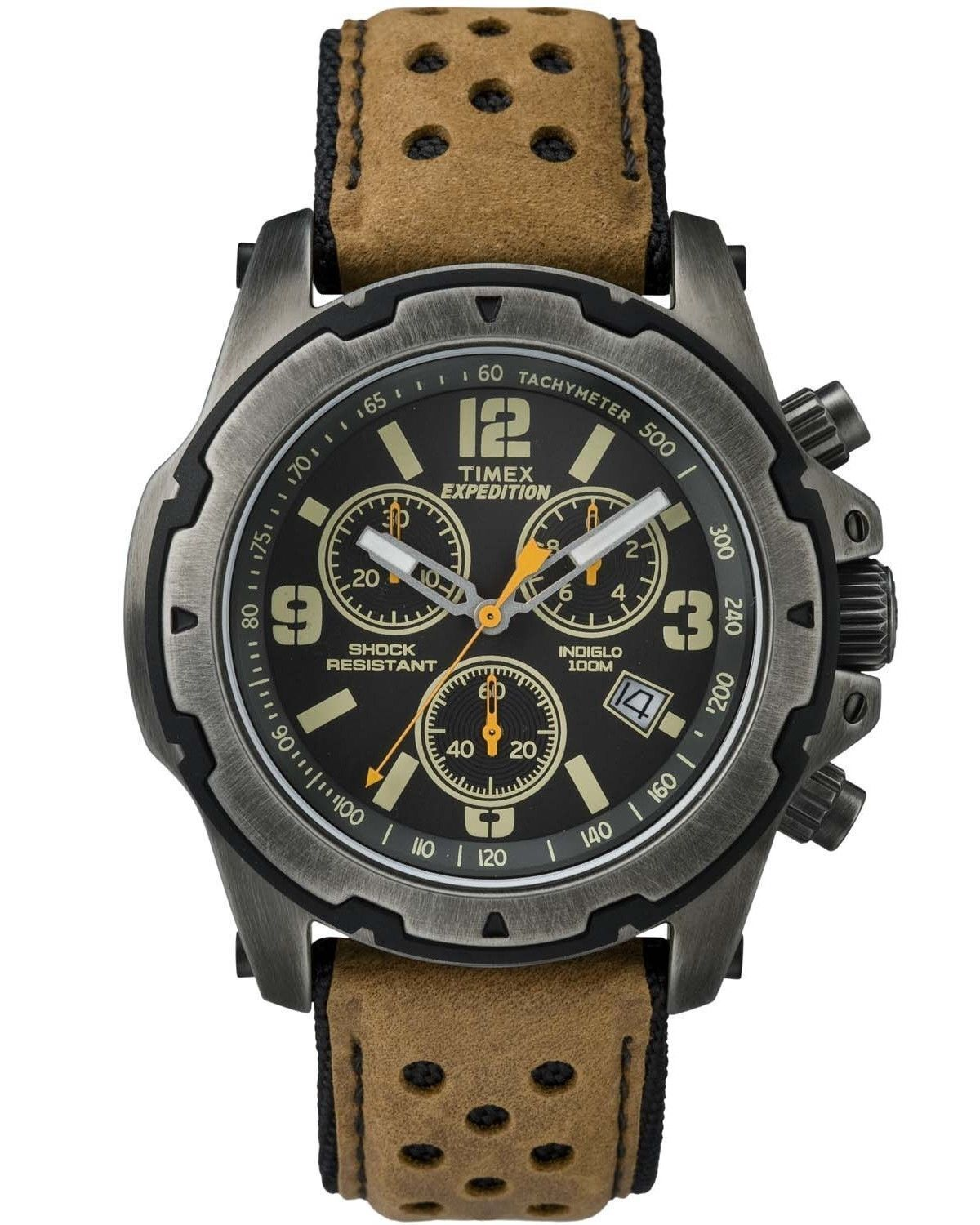 Timex Men's Expedition TW4B01500 Gunmetal Leather Analog Qua