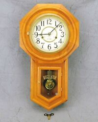 Regulator 31 Day Wood Octagon Wind Wall Clock Keeps Great Time Clean w/Key Used