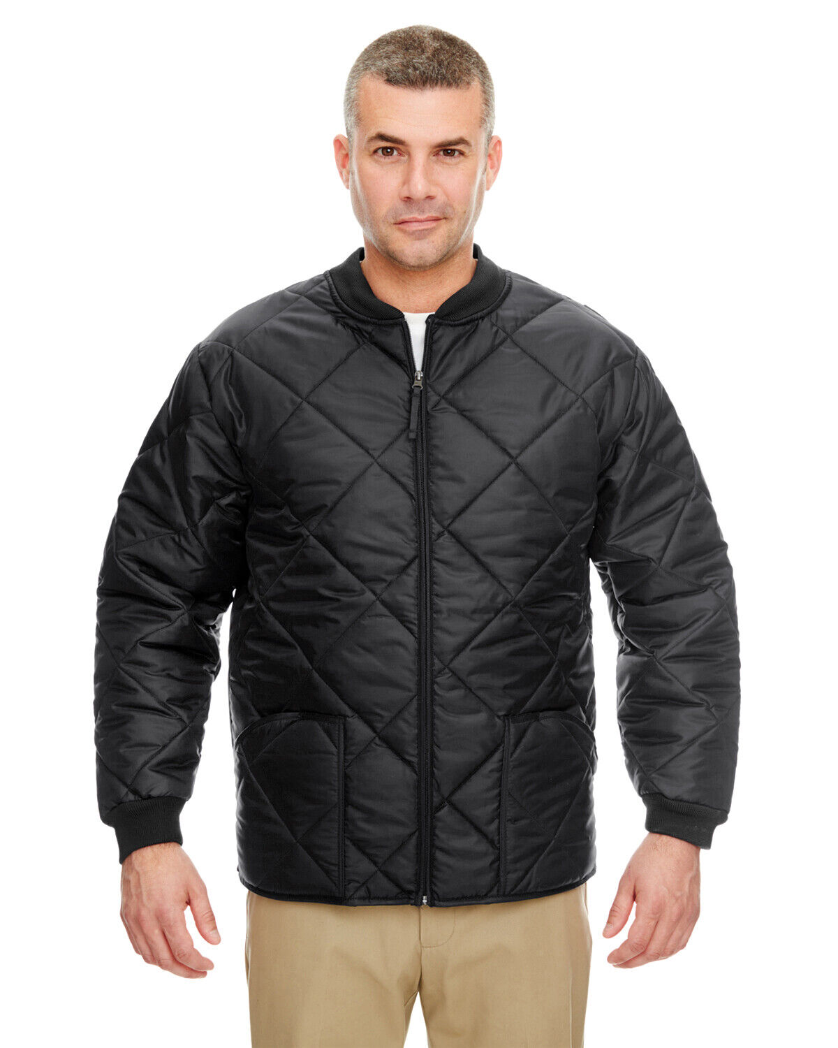 UltraClub Puffy Workwear Jacket with Quilted Lining black coat Clothing, Shoes & Accessories