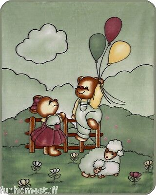 TEDDY BEAR LOVE BALLOONS Luxury Soft Baby Throw Crib Blanket Apx 40 in x 50 in