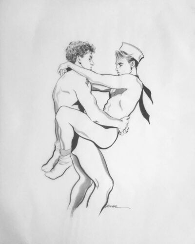 Rare Collectable Original Gay Erotic Male w/Signature. Artist Robert W Richards