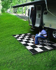 Reversible Outdoor Mat RV 6 x 9 Camping Racing Patio Black White Checkered Rug
