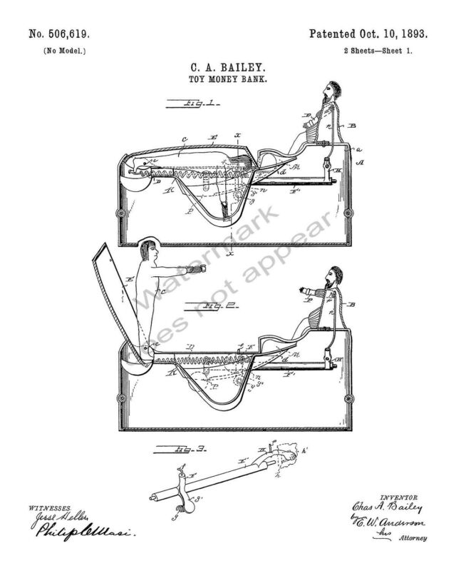 J & E Stevens Worlds Fair Columbus Cast Iron Bank Patent Print - White