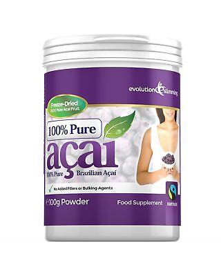 100% Pure Acai Juice - 100% Pure Acai Berry Powder Tub 100g for Smoothies & Juices Evolution Slimming