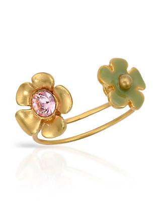 NEW PILGRIM SKANDERBORG, DENMARK Flower Toe Ring w/ Pink Crystal & Green Enamel